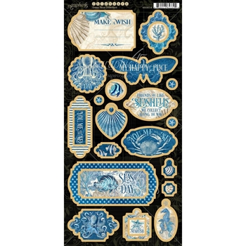 Graphic 45 OCEAN BLUE Chipboard 4502018