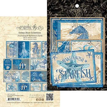 Graphic 45 OCEAN BLUE Journaling And Ephemera Cards 4502020