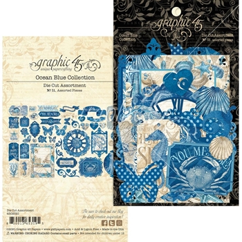 Graphic 45 OCEAN BLUE Die Cut Assortment 4502021