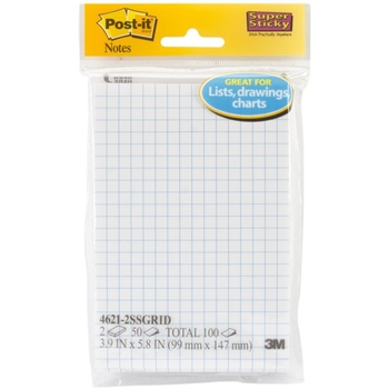3M Scotch GRIDLINE POST-IT Super Sticky Notes 8778
