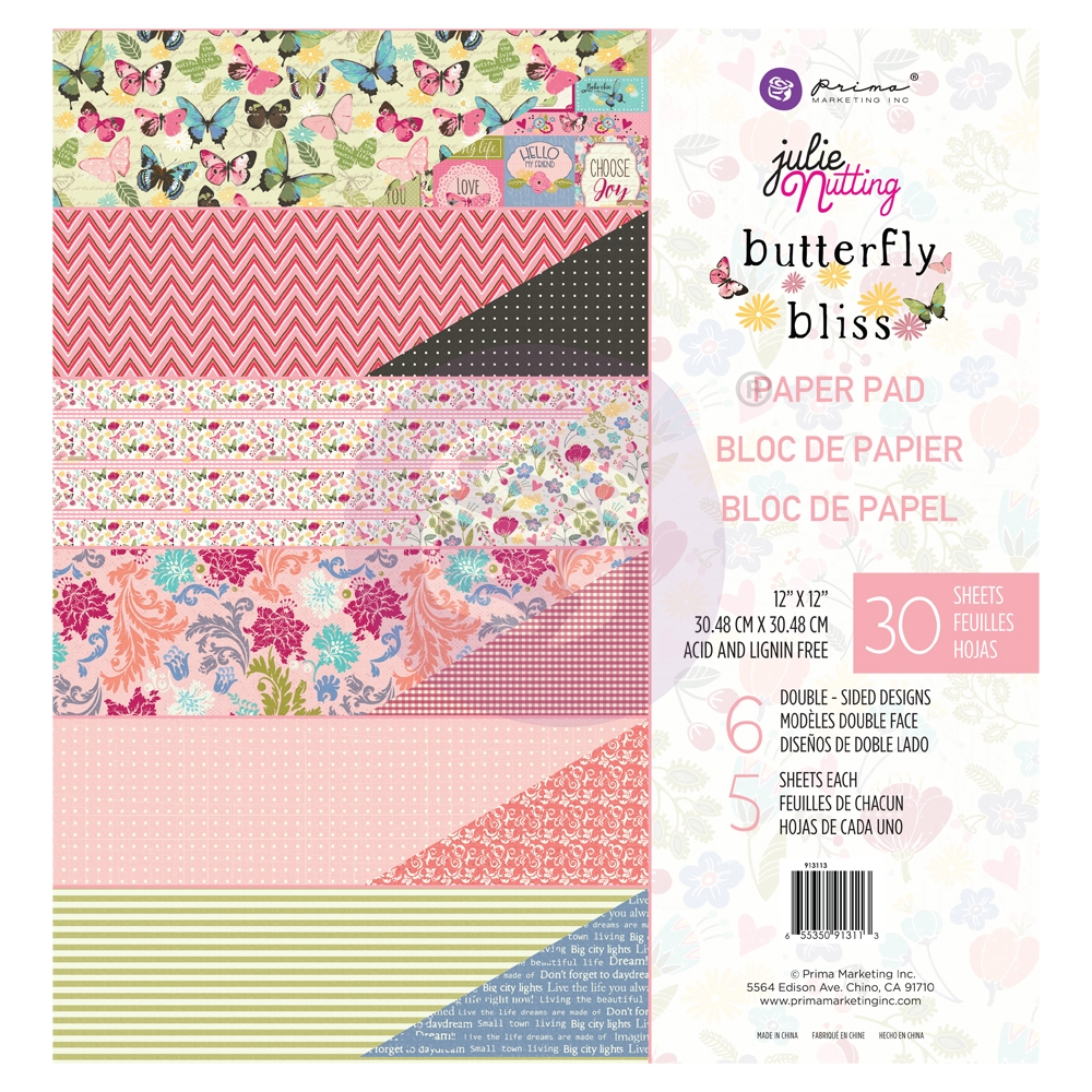 Prima Marketing BUTTERFLY BLISS 12 x 12 Paper Pad Julie Nutting 913113 zoom image