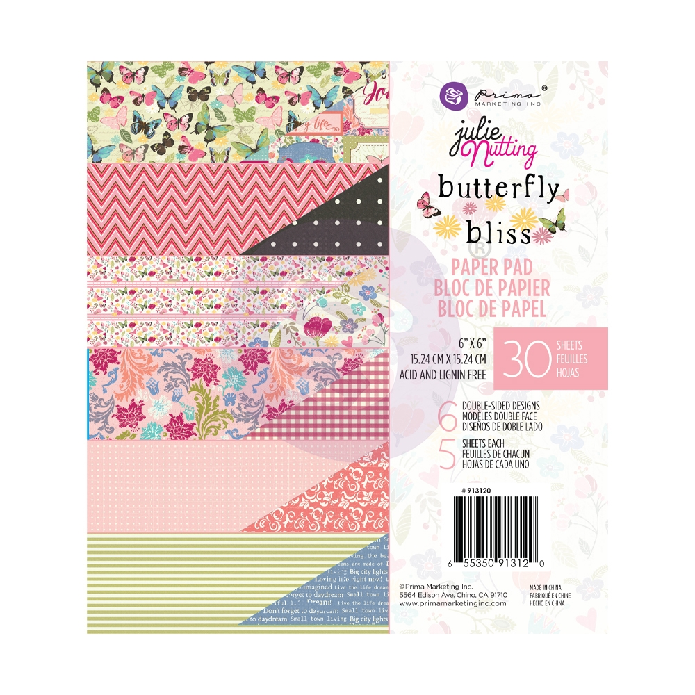 Prima Marketing BUTTERFLY BLISS 6 x 6 Paper Pad Julie Nutting 913120 zoom image