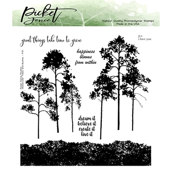 Picket Fence Studios WATERCOLOR TREES AND BRUSHES Clear Stamps f131