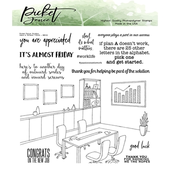 Picket Fence Studios HERE IS WHERE I WORK Clear Stamps bb132