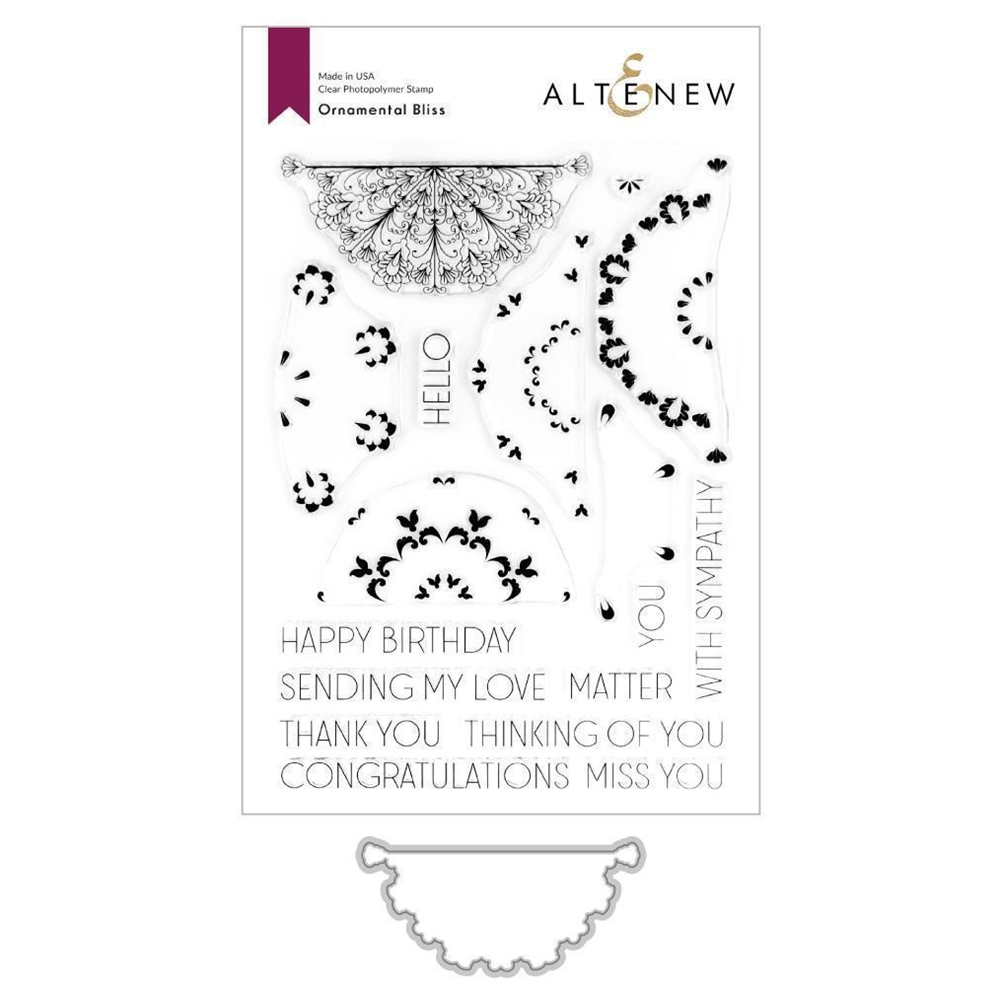 Altenew ORNAMENTAL BLISS Clear Stamp and Die BUNDLE ALT3724 zoom image