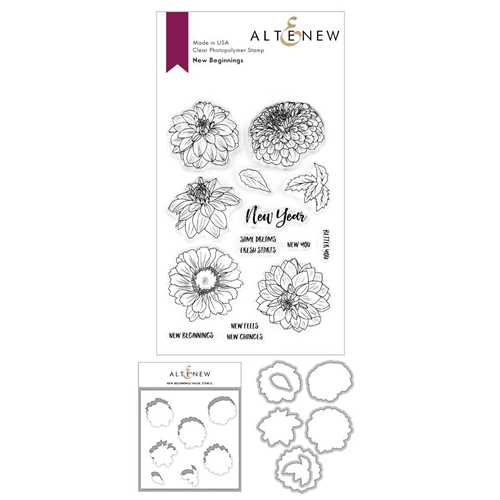 Altenew NEW BEGINNINGS Clear Stamp, Die, and Masked Stencil BUNDLE ALT3721 Preview Image