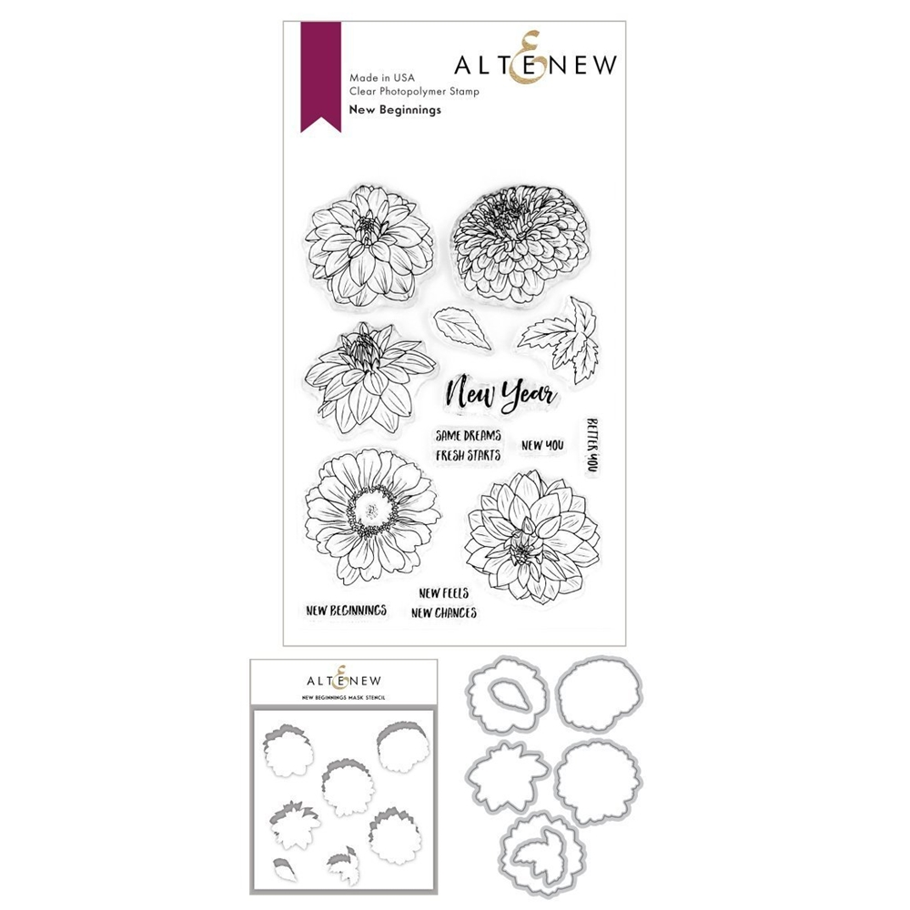 Altenew NEW BEGINNINGS Clear Stamp, Die, and Masked Stencil BUNDLE ALT3721 zoom image