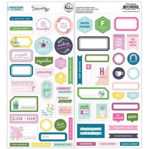 PinkFresh Studio NOTEWORTHY Cardstock Stickers pfrc200520 Preview Image