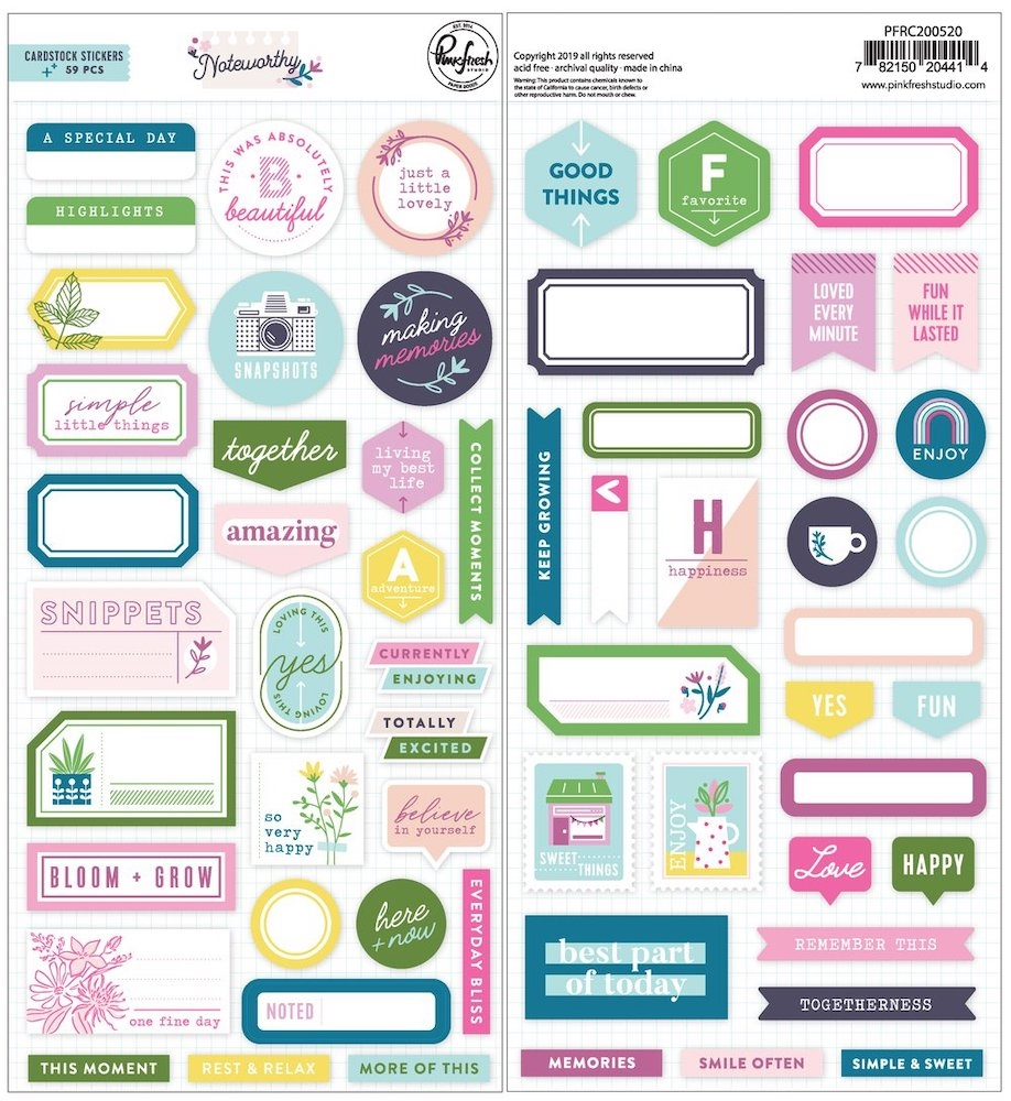 PinkFresh Studio NOTEWORTHY Cardstock Stickers pfrc200520 zoom image