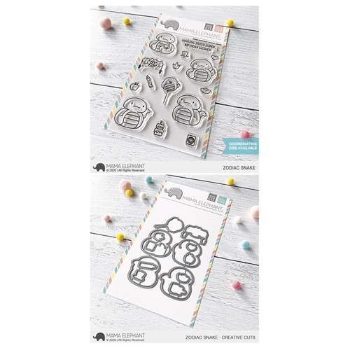 Mama Elephant Clear Stamp and Die MEPT747 Zodiac Snake SET Preview Image