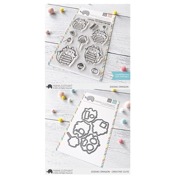 Mama Elephant Clear Stamp and Die MEPT744 Zodiac Dragon SET