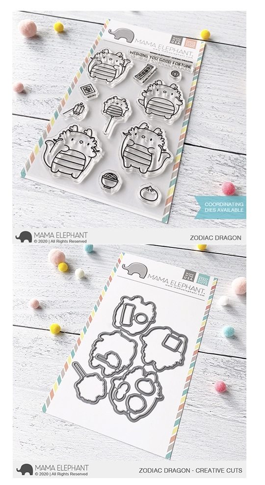 Mama Elephant Clear Stamp and Die MEPT744 Zodiac Dragon SET zoom image