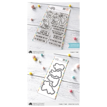 Mama Elephant Clear Stamp and Die MEPT741 Family Time SET