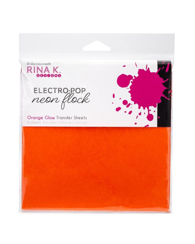 Therm O Web Rina K Designs ORANGE GLOW Flock 6x6 Inch Transfer Sheets 18167 zoom image