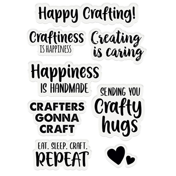 Crafter's Companion HAPPINESS IS HANDMADE A6 Acrylic Stamps scfsthiha