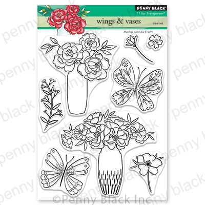 Penny Black Clear Stamps WINGS AND VASES 30-704* Preview Image