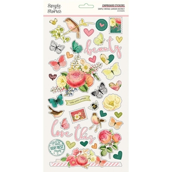 Simple Stories GARDEN DISTRICT 6 x 12 Chipboard Stickers 12516