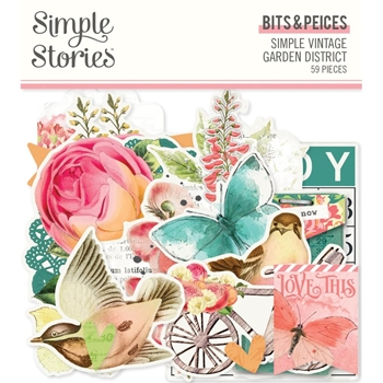 Simple Stories GARDEN DISTRICT Floral Bits And Pieces 12518
