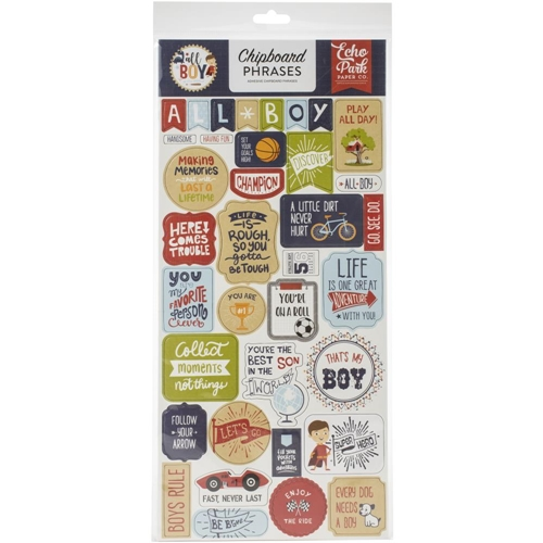 Echo Park ALL BOY Chipboard Phrases alb207022 Preview Image
