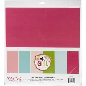 Echo Park ALL GIRL 12 x 12 Solids Paper Pack alg206015