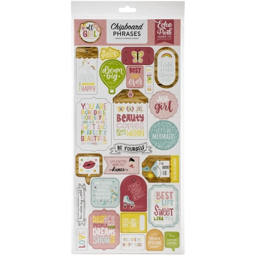 Echo Park ALL GIRL Chipboard Phrases alg206022 Preview Image