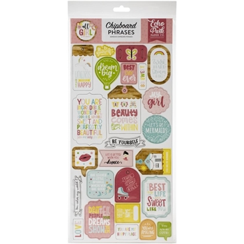 Echo Park ALL GIRL Chipboard Phrases alg206022