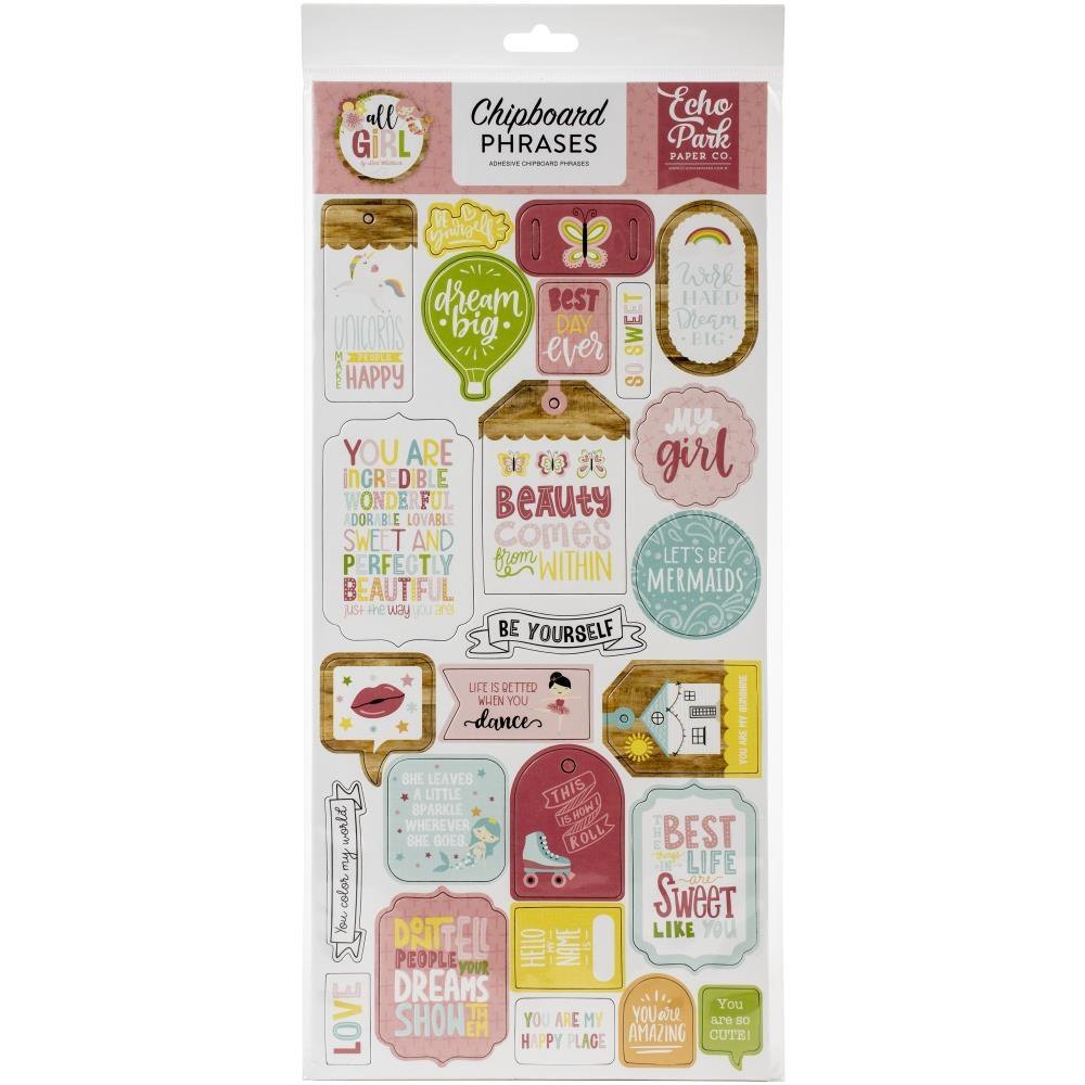 Echo Park ALL GIRL Chipboard Phrases alg206022 zoom image