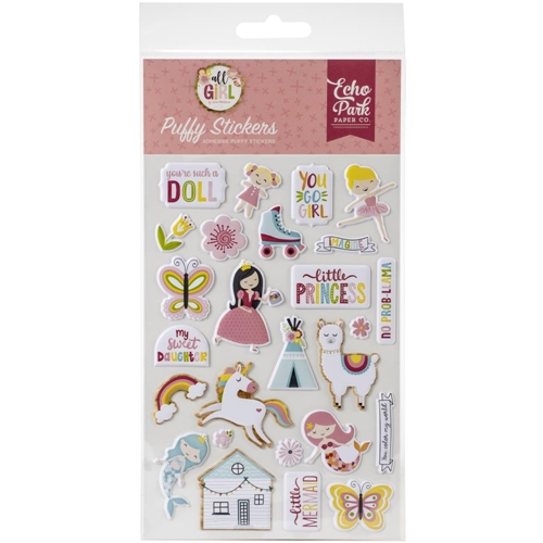 Echo Park ALL GIRL Puffy Stickers alg206066 Preview Image