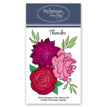 Technique Tuesday MIXED FLOWER BOUQUET Clear Stamps 2827*