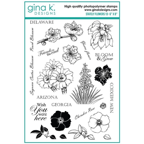 Gina K Designs STATELY FLOWERS 13 Clear Stamps 6354 Preview Image
