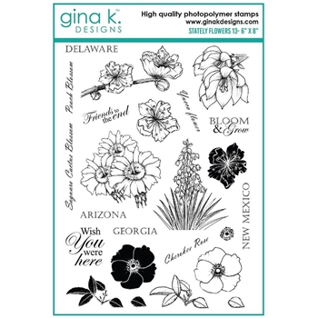 Gina K Designs STATELY FLOWERS 13 Clear Stamps 6354