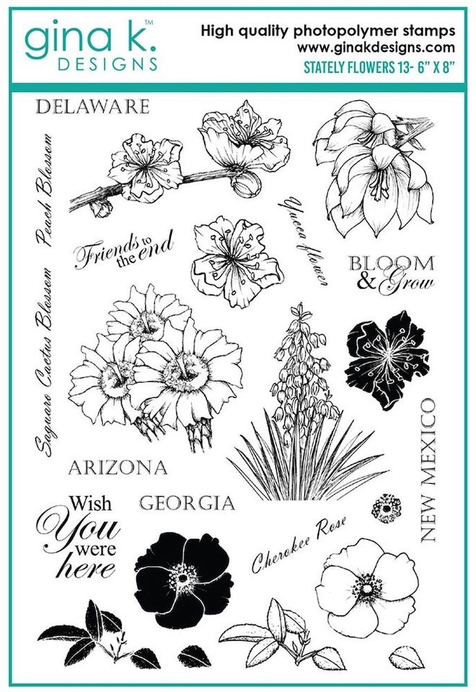Gina K Designs STATELY FLOWERS 13 Clear Stamps 6354 zoom image