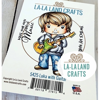 La-La Land Crafts Cling Stamps LUKA WITH GUITAR 5425