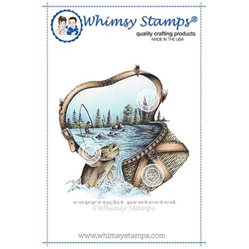 Whimsy Stamps FISHERMAN'S BASKET Rubber Cling Stamp DA1138