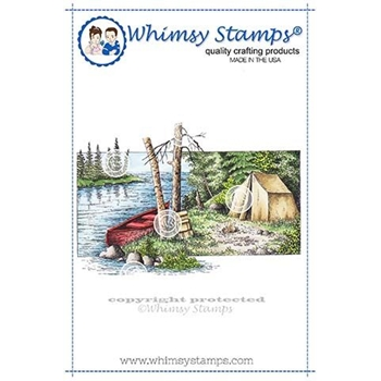 Whimsy Stamps CAMPSITE Rubber Cling Stamp DA1137