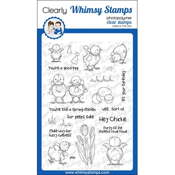 Whimsy Stamps SPRING CHICKENS Clear Stamps CWSD302