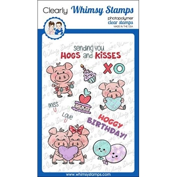 Whimsy Stamps HOGS AND KISSES Clear Stamps KHB163