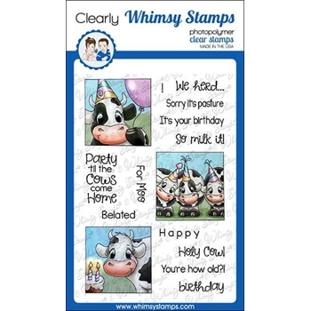 Whimsy Stamps COW PARTY Clear Stamps C1321