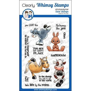 Whimsy Stamps YOGA ANIMALS Clear Stamps C1355