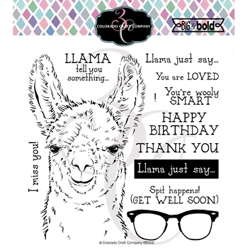 Colorado Craft Company Big and Bold LLAMA TELL YOU Clear Stamps BB302