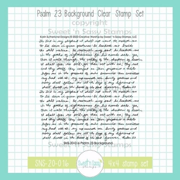 Sweet 'N Sassy PSALM 23 BACKGROUND Clear Stamp Set sns20016