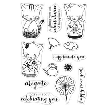 Hero Arts Clear Stamps KITTENS IN KIMONOS CM443