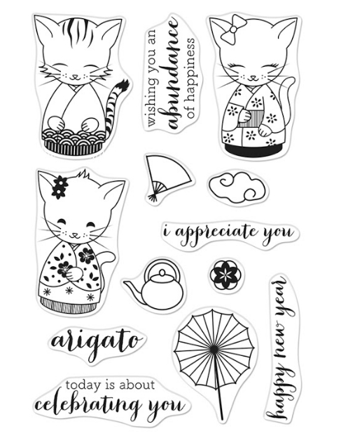Hero Arts Clear Stamps KITTENS IN KIMONOS CM443 zoom image
