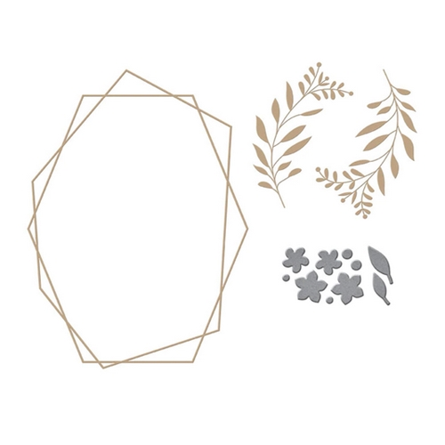 GLP-173 Spellbinders GEOMETRIC FLORAL Glimmer Hot Foil Plate Preview Image