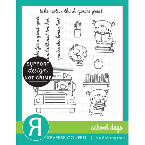 Reverse Confetti SCHOOL DAYS Clear Stamps Preview Image