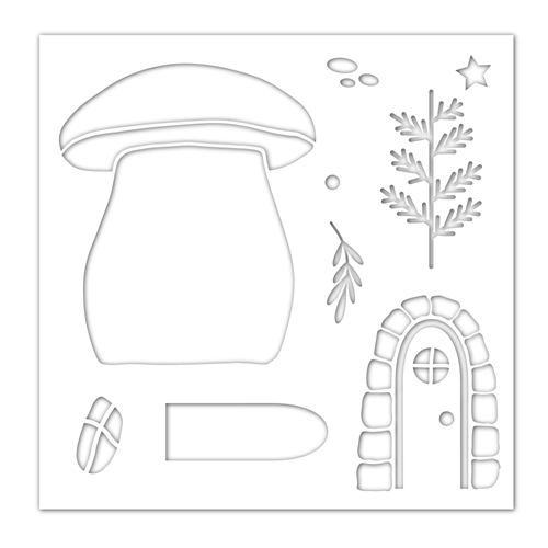 Simon Says Stamp Stencil MUSHROOM HOUSE ssst121465 Lucky To Know You Preview Image