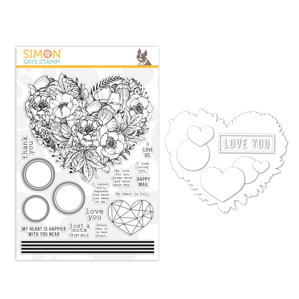 Simon Says Stamps And Dies BOTANICAL HEART set373bh Lucky To Know You zoom image