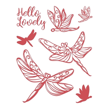 Couture Creations LOVELY DRAGONFLIES Clear Stamp Set co727716