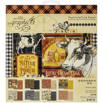 Graphic 45 FARMHOUSE 8 x 8 Paper Pad 4502058
