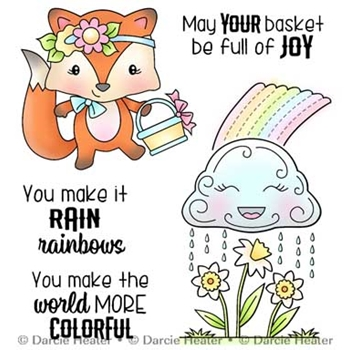 Darcie's RAINING RAINBOW Clear Stamp Set pol453